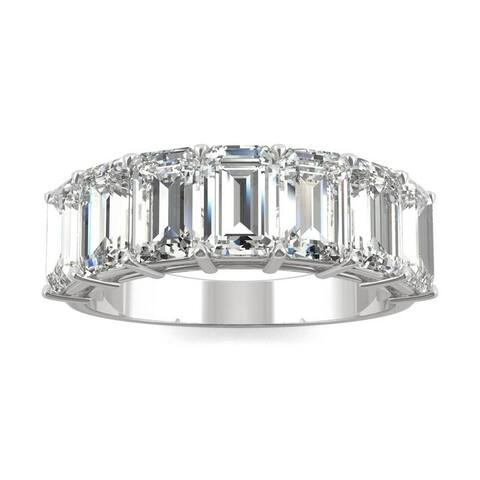 Moissanite by Charles & Colvard 14k White Gold Emerald Seven Stone Ring 4.06 TGW