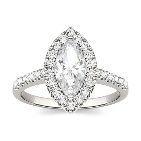 Moissanite by Charles & Colvard 14k White Gold Marquise Halo Engagement Ring 1.45 TGW