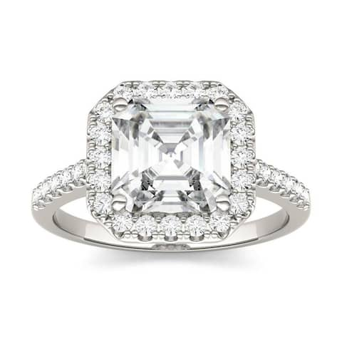 Moissanite by Charles & Colvard 14k White Gold Asscher Halo Engagement Ring 2.69 TGW
