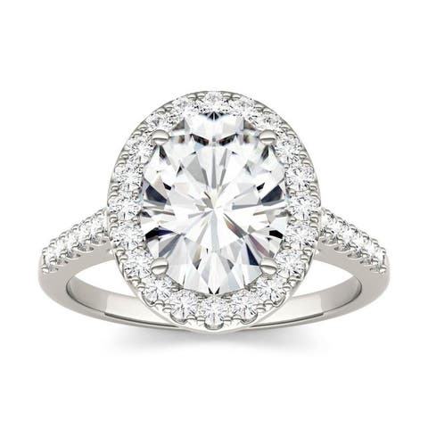 Moissanite by Charles & Colvard 14k White Gold Oval Halo Engagement Ring 3.48 TGW