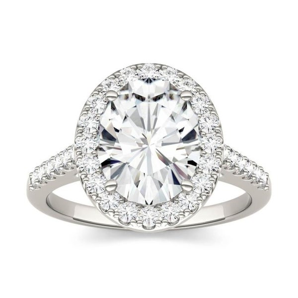Moissanite by Charles & Colvard 14k White Gold Oval Halo Engagement Ring 3.48 TGW. Opens flyout.