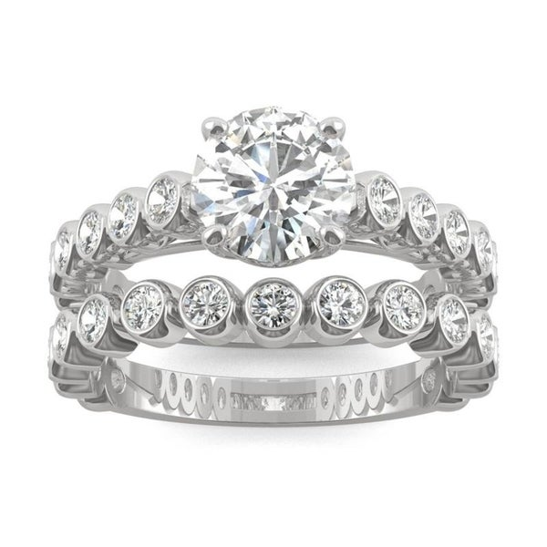 Moissanite by Charles & Colvard 14k White Gold Wedding Set with Bezel Sides 2.22 TGW. Opens flyout.