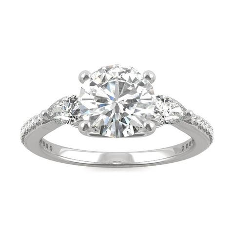 Moissanite by Charles & Colvard 14k White Gold Enagement Ring with Pear Sides 2.50 TGW