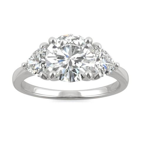 Moissanite by Charles & Colvard 14k White Gold Three Stone Ring with Trillion Sides 2.70 TGW