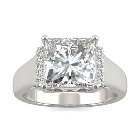 Moissanite by Charles & Colvard 14k White Gold Square Brilliant Fashion Ring 3.72 TGW