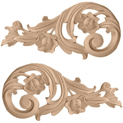"7 1/2""W x 3 1/2""H x 1/2""D (Each Side) Small Rose Scrolls (Pair)"