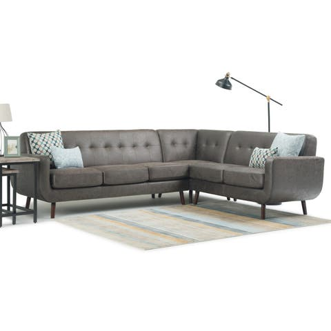 WYNDENHALL Germaine Mid Century Modern 105 inch Wide Sectional in Storm Grey Faux Leather - 105.1 x 31.5 x 33.5