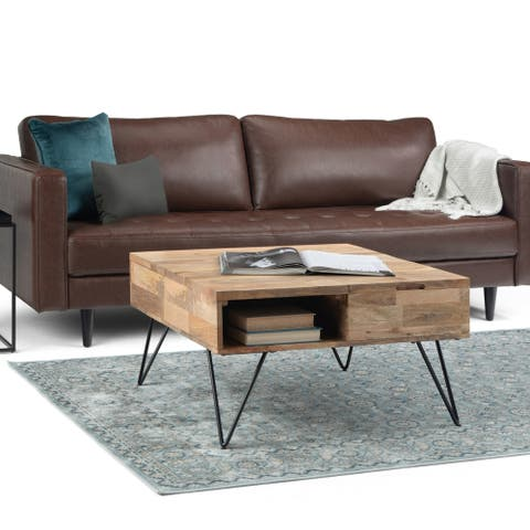 Carbon Loft Quarmby Solid Mango Wood and Metal Lift Top Coffee Table in Natural - 32.1 x 32.1 x 18.1