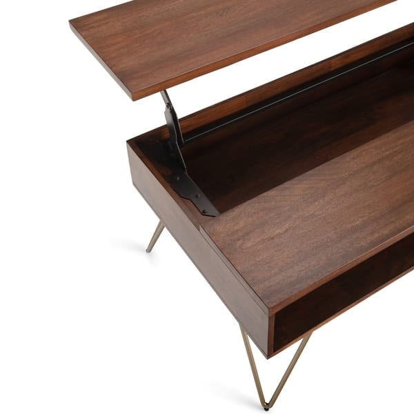 Carbon Loft Quarmby Solid Mango Wood Lift Top Coffee Table In Umber Brown