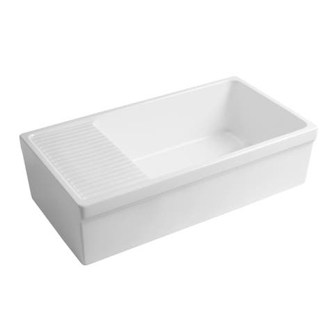 Whitehaus Collection Quatro Alcove Reversible Matte Fireclay Kitchen Sink with Integral Drainboard