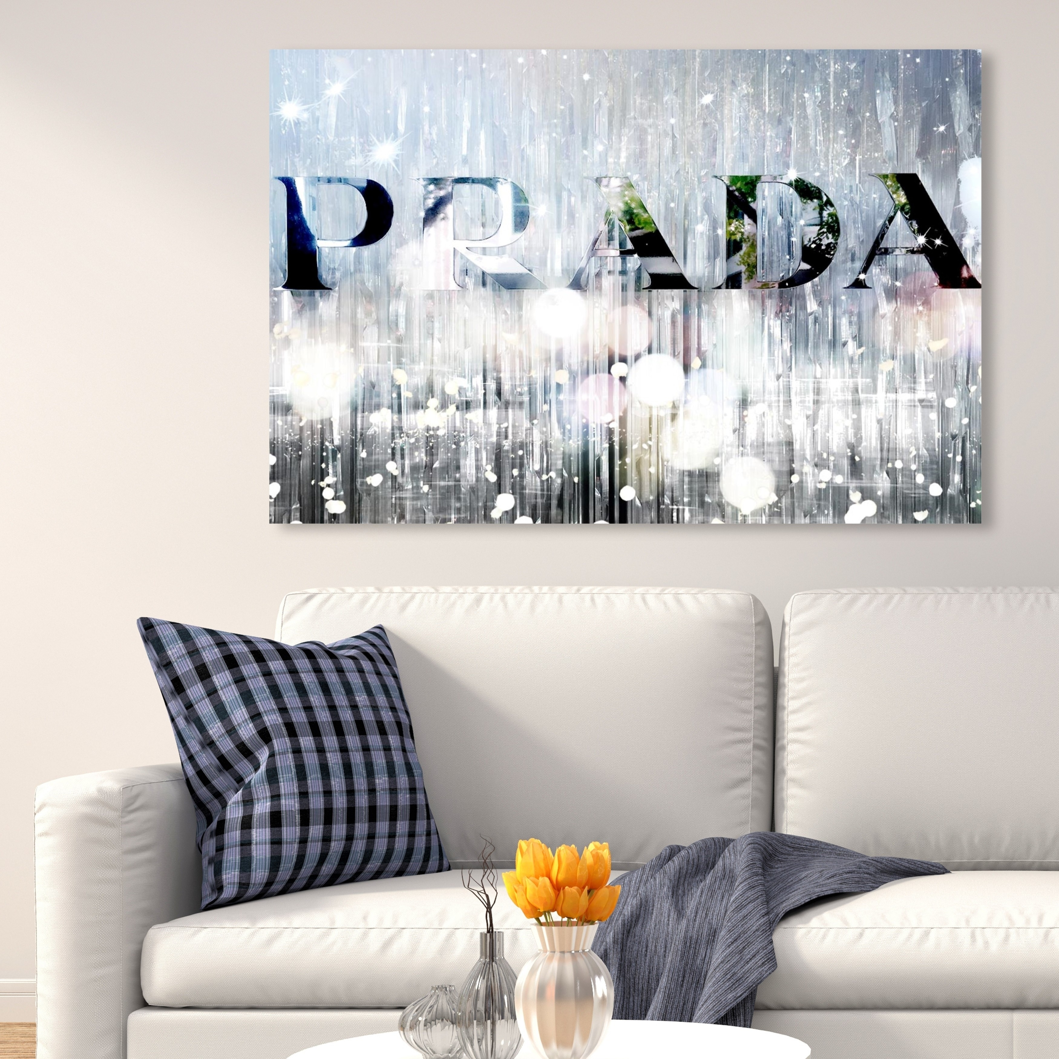 Oliver Gal Silver Name Fashion And Glam Wall Art Canvas Print Gray White