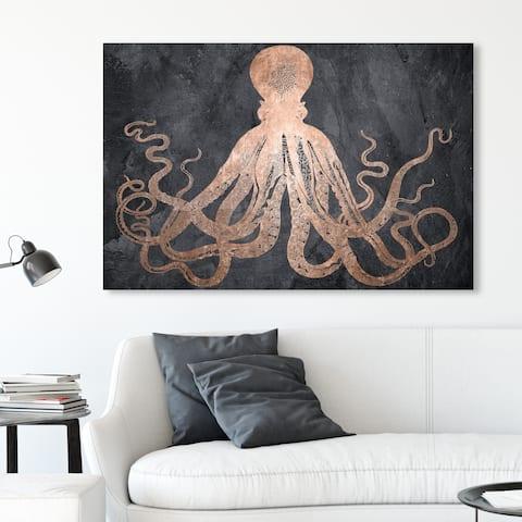 Oliver Gal 'Squid Copper' Nautical and Coastal Wall Art Canvas Print - Bronze, Black