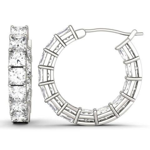 Moissanite by Charles & Colvard 14k White Gold Square Hoop Earrings 4.68 TGW