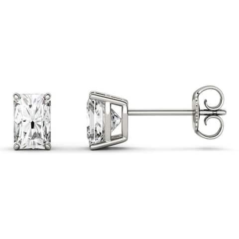 Moissanite by Charles & Colvard 14k White Gold Radiant Stud Earrings 1.40 TGW