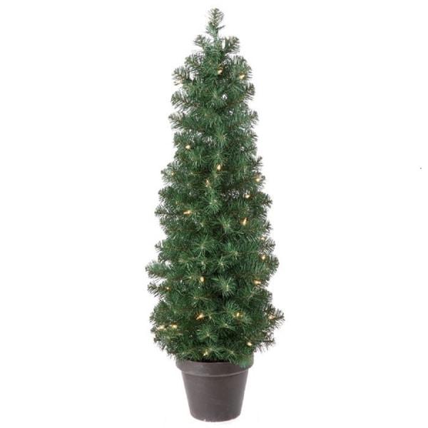 Regency Potted Artificial Prelit Spruce Tree 3'