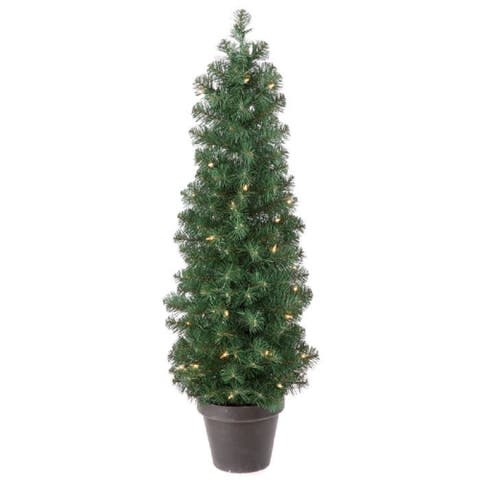 Regency Potted Artificial Prelit Spruce Tree 4'