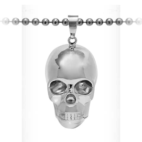 Sterling Silver Skull Pendant on a 30 Inch Ball Chain - Large Men's Silver Skull Necklace