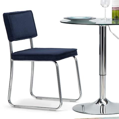 "WYNDENHALL Barron Modern Dining Chair in Navy Blue Corduroy - 16.9""w x 19.7""d x 31.1""h"