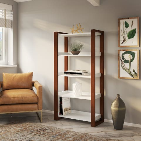Voss 5 Shelf Etagere Bookcase from kathy ireland Home by Bush Furniture