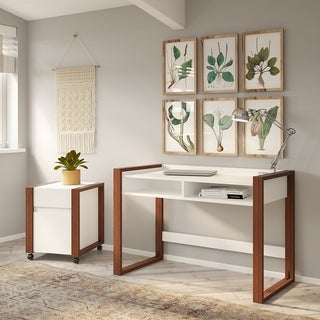 Voss 48W Desk with File Cabinet from kathy ireland Home by Bush Furniture