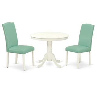 Round 36 Inch Table and Parson Chairs in Pond PU Leather (Number of Chairs Option)