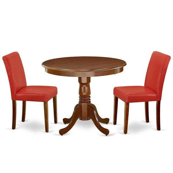 Round 36 Inch Table and Parson Chairs in Firebrick Red PU Leather (Number of Chairs Option)