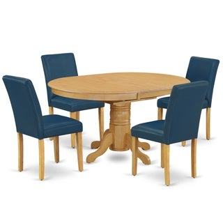 Oval 42/60 Inch Table and Parson Chairs in Oasis PU Leather (Number of Chairs Option)