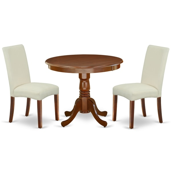 Round 36 Inch Table and Parson Chairs in Cream Linen Fabric (Number of Chairs Option)