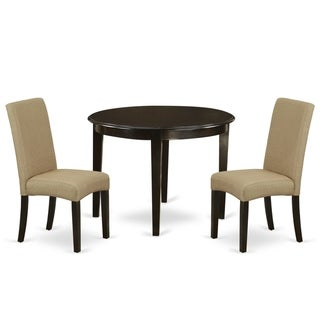 Round 42 Inch Table and Parson Chairs in Brown Linen Fabric (Number of Chairs Option)