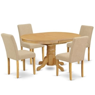 Oval 42/60 Inch Table and Parson Chairs in Light Fawn Linen Fabric (Number of Chairs Option)