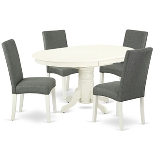 Oval 42/60 Inch Table and Parson Chairs in Gray Linen Fabric (Number of Chairs Option)