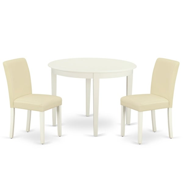 Round 42 Inch Table and Parson Chairs in White PU Leather (Number of Chairs Option)
