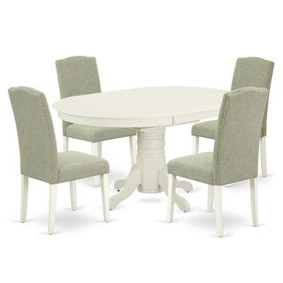 Oval 42/60 Inch Table and Parson Chairs in Dark Shitake Linen Fabric (Number of Chairs Option)