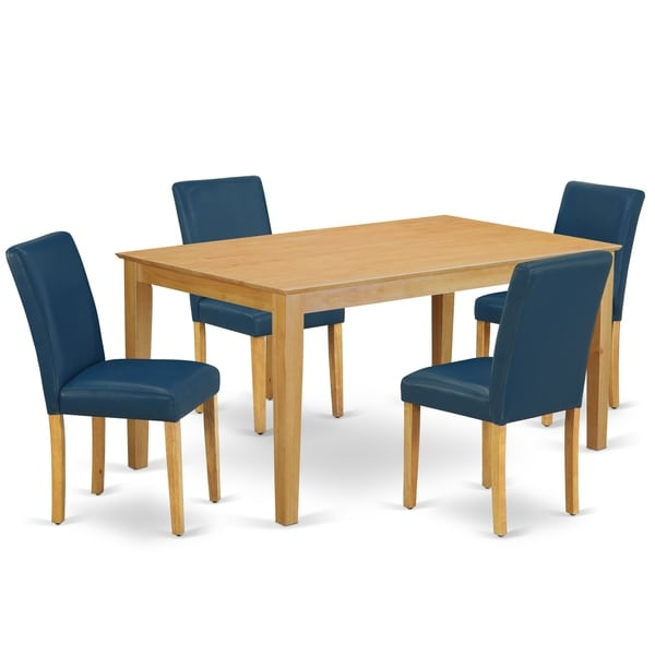 Rectangle 60 Inch Table and Parson Chairs in Oasis PU Leather (Number of Chairs Option)