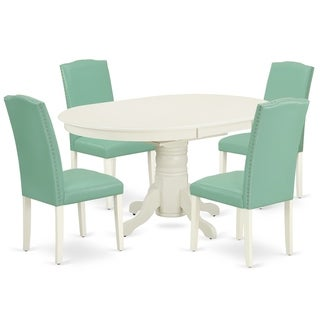 Oval 42/60 Inch Table and Parson Chairs in Pond PU Leather (Number of Chairs Option)
