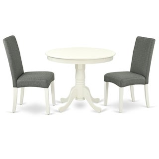 Round 36 Inch Table and Parson Chairs in Gray Linen Fabric (Number of Chairs Option)