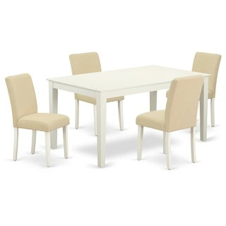 Rectangle 60 Inch Table and Parson Chairs in Light Beige Linen Fabric (Number of Chairs Option)