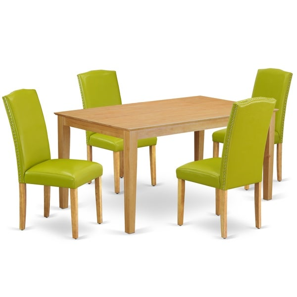 Rectangle 60 Inch Table and Parson Chairs in Autumn Green PU Leather (Number of Chairs Option)