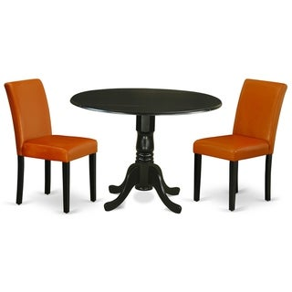 Round 42 Inch Table and Parson Chairs in Baked Bean PU Leather (Number of Chairs Option)