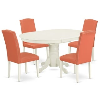 Oval 42/60 Inch Table and Parson Chairs in Pink Flamingo PU Leather (Number of Chairs Option)