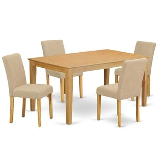 Rectangle 60 Inch Table and Parson Chairs in Light Fawn Linen Fabric (Number of Chairs Option)