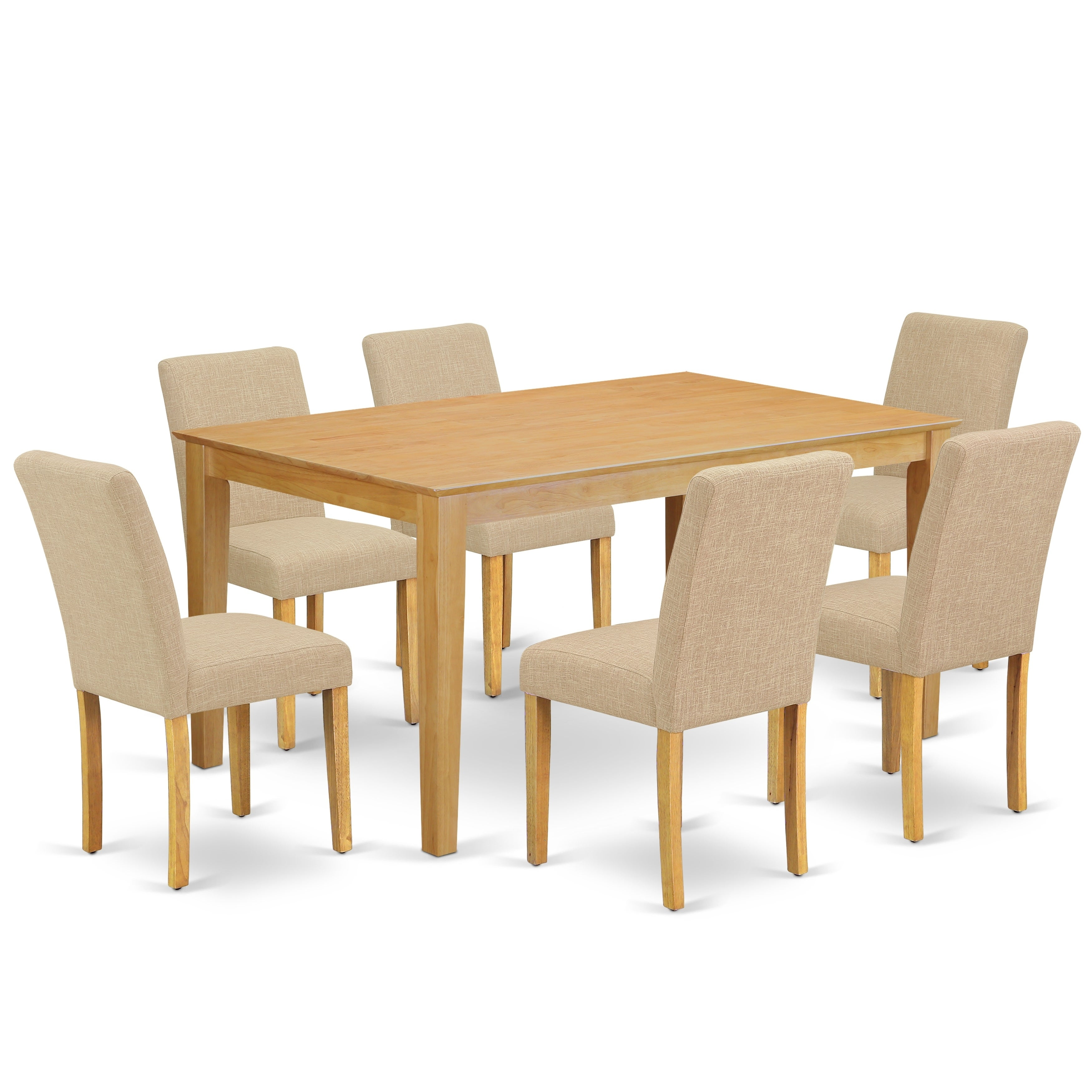 Rectangle 60 Inch Table And Parson Chairs In Light Fawn Linen Fabric Number Of Chairs Option