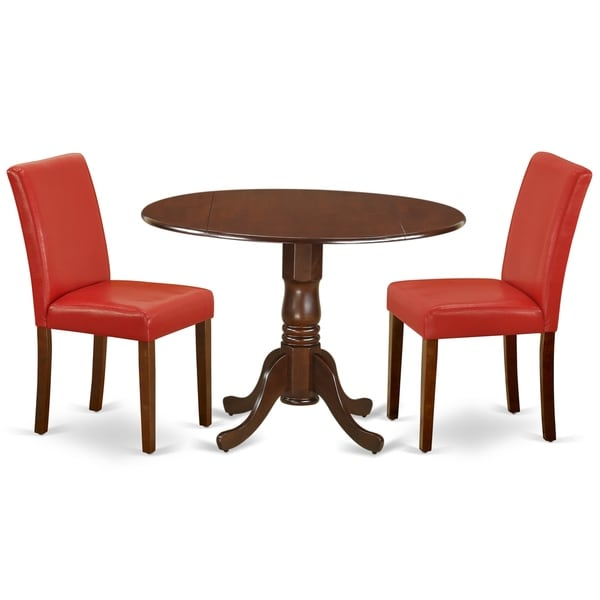Round 42 Inch Table and Parson Chairs in Firebrick Red PU Leather (Number of Chairs Option)