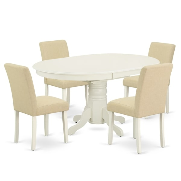 Oval 42/60 Inch Table and Parson Chairs in Light Beige Linen Fabric (Number of Chairs Option)