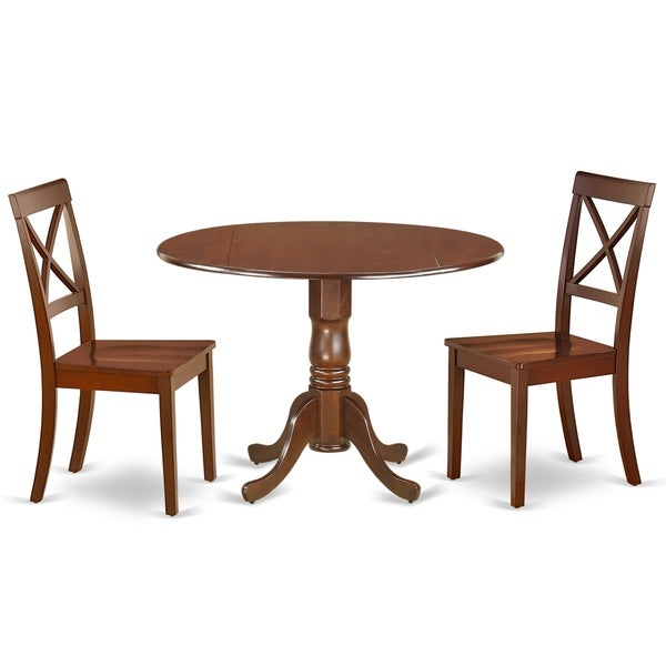 Round 42 Inch Table and Wood Seat Chairs Kitchen Set in Mahogany Finish (Number of Chairs Option)