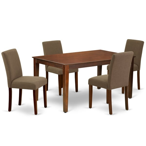Rectangle 60 Inch Table and Parson Chairs in Coffee Linen Fabric (Number of Chairs Option)