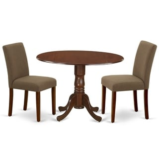 Round 42 Inch Table and Parson Chairs in Coffee Linen Fabric (Number of Chairs Option)