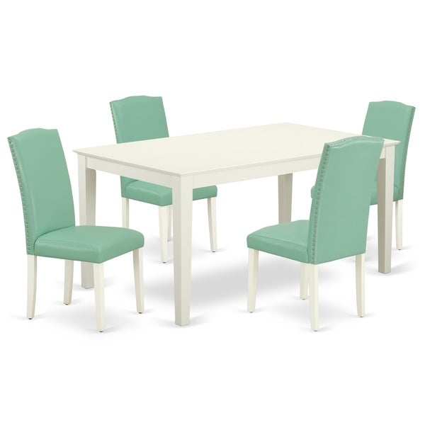 Rectangle 60 Inch Table and Parson Chairs in Pond PU Leather (Number of Chairs Option)