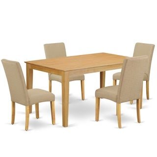 Rectangle 60 Inch Table and Parson Chairs in Dark Khaki Linen Fabric (Number of Chairs Option)