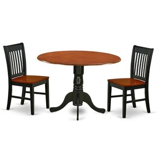 Round 42 Inch Table and Wood Seat Chairs Kitchen Set in Black and Cherry Finish (Number of Chairs Option)